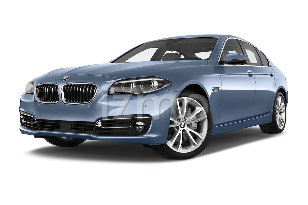 Stock pictures of low aggressive front three quarter view of a 2015 BMW SERIES 5 ActiveHybrid 5 Luxury 4 Door Sedan Low Aggressive