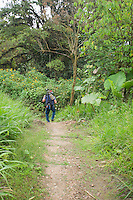 Photographers on a rainforest trail at San Jorge de Milpe Eco-Lodge, Ecuador