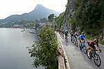 The peloton on the shores of Lake Como during the 113th edition of Il Lombardia 2019 running 243km from Bergamo to Como, Italy. 12th Octobre 2019. <br /> Picture: Fabio Ferrari/LaPresse | Cyclefile<br /> <br /> All photos usage must carry mandatory copyright credit (© Cyclefile | LaPresse/Fabio Ferrari)