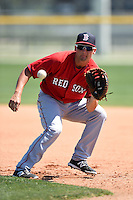 Boston Red Sox Sam Travis (12) during practice before a minor league spring training game against the Baltimore Orioles on March 20, 2015 at Buck O'Neil Complex in Sarasota, Florida.  (Mike Janes/Four Seam Images)