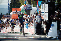 Alejandro Valverde (ESP/Movistar) is yet again King of the Mur de Huy. He crosses the finish line here victoriously for the 3rd time in his career.<br /> <br /> 79th Flèche Wallonne 2015