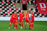 Helen Ward of Wales Women's celebrates scoring the opening goal with team mates during the UEFA Women's EURO 2022 Qualifier match between Wales Women and Faroe Islands Women at Rodney Parade in Newport, Wales, UK. Thursday 22 October 2020