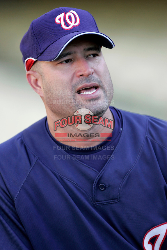 Washington Nationals Manager Manny Acta during batting practice before a game from the 2007 season at Dodger Stadium in Los Angeles, California. (Larry Goren/Four Seam Images)