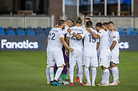 SAN JOSE, CA - OCTOBER 03: LA Galaxy team huddle during a game between Los Angeles Galaxy and San Jose Earthquakes at Earthquakes Stadium on October 03, 2020 in San Jose, California.