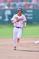 Clemson Tigers second baseman Chase Pinder (5) rounds the bases after homering during a game against the Notre Dame Fighting Irish during game one of a double headers at Doug Kingsmore Stadium March 14, 2015 in Clemson, South Carolina. The Tigers defeated the Fighting Irish 6-1. (Tony Farlow/Four Seam Images)