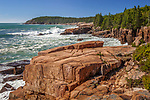 Storm waves scour the shore of Acadia National Park, Downeast, ME, USA