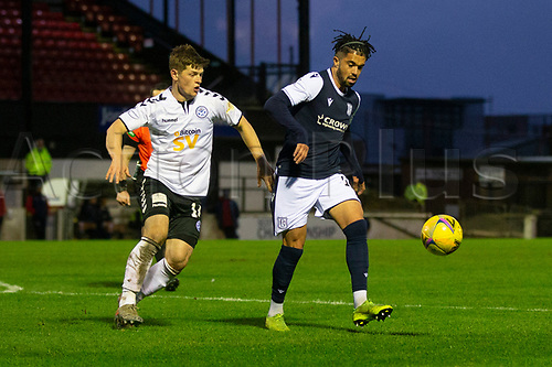 21st November 2020; Somerset Park, Ayr, South Ayrshire, Scotland; Scottish Championship Football, Ayr United versus Dundee FC; Declan McDaid of Dundee and Cammy Smith of Ayr United
