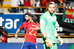 Spain's Diego Costa (l) and Nolito celebrate goal in presence of Liechtenstein's Peter Jehle dejected during FIFA World Cup 2018 Qualifying Round match. September 5,2016.(ALTERPHOTOS/Acero)
