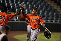 AZL Giants center fielder Heliot Ramos (31) is congratulated by Nathanael Javier after scoring during a game against the AZL Angels on July 9, 2017 at Diablo Stadium in Tempe, Arizona. AZL Giants defeated the AZL Angels 8-4. (Zachary Lucy/Four Seam Images)