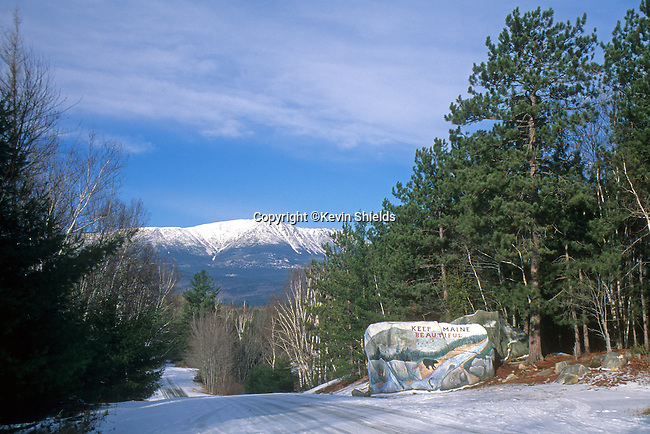Mt. Katahdin seen from the painted boulder near Baxter State Park, Maine, USA