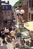 AJ2943, Quebec City, terrace, Quebec, Canada, People walking in Rue Petit-Champlain in Old Quebec City in the Province of Quebec, Canada.