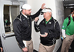 DENTON, TX  JANUARY 1: Strength and conditioning coach and assistant coach Scotty Conley stand in front of the locker room before the start of the game against the UNLV Rebels at  the Heart of Dallas Bowl at Cotton Bowl Stadium in Dallas on January 1, 2014 in Dallas, TX.  Photo by Rick Yeatts North Texas won 36-14 over UNLV.