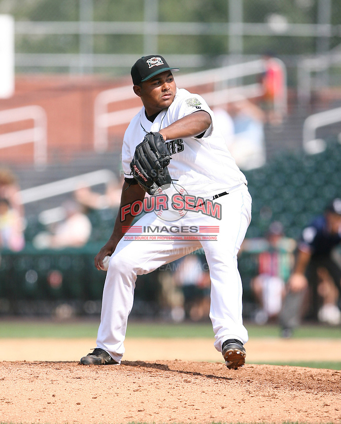 2007:  Jean Machi of the New Hampshire Fisher Cats, Class-AA affiliate of the Toronto Blue Jays, during the Eastern League baseball season.  Photo by Mike Janes/Four Seam Images