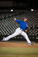 AZL Cubs 1 relief pitcher Fernando Calderon (57) delivers a pitch during an Arizona League game against the AZL Diamondbacks at Sloan Park on June 18, 2018 in Mesa, Arizona. AZL Diamondbacks defeated AZL Cubs 1 7-0. (Zachary Lucy/Four Seam Images)