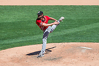 El Paso Chihuahuas relief pitcher Aaron Northcraft (33) delivers a pitch to the plate against the Salt Lake Bees in Pacific Coast League action at Smith's Ballpark on July 26, 2015 in Salt Lake City, Utah. El Paso defeated Salt Lake 6-3 in 10 innings. (Stephen Smith/Four Seam Images)