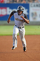 Chuck Taylor #11 of the South Bend Silver Hawks heads toward third base against the Clinton LumberKings at Ashford University Field on July 26, 2014 in Clinton, Iowa. The Sliver Hawks won 2-0.   (Dennis Hubbard/Four Seam Images)