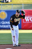 Taylor Lindsey (8) of the Salt Lake Bees in action against the Sacramento River Cats at Smith's Ballpark on April 5, 2014 in Salt Lake City, Utah.  (Stephen Smith/Four Seam Images)