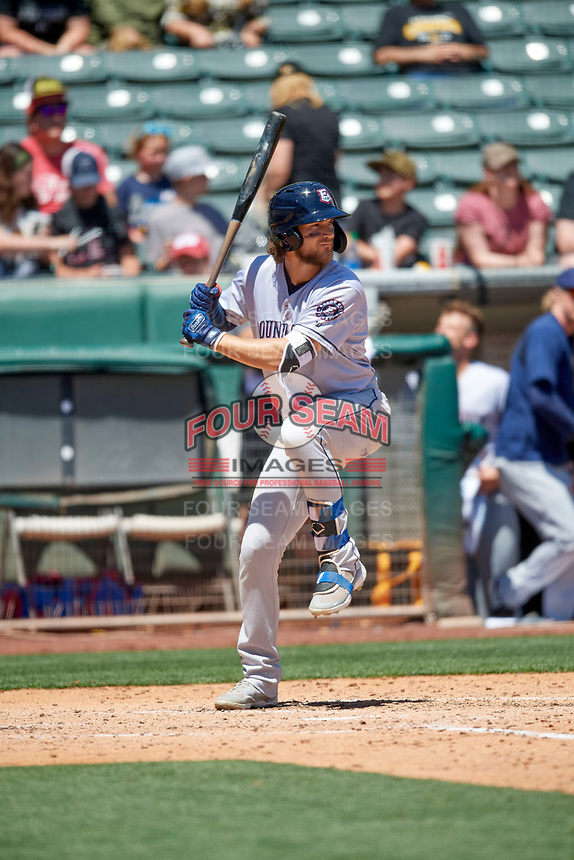 Charles Leblanc (12) of the Round Rock Express at bat against the Salt Lake Bees at Smith's Ballpark on May 31, 2021 in Salt Lake City, Utah. The Express defeated the Bees 8-6. (Stephen Smith/Four Seam Images)