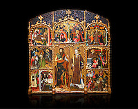 Gothic altarpiece of Saint Esteve (Stephen) & John the Baptist by Mestre de Bardalona, early 15th century, tempera and gold leaf on for wood from Santa Maria de Badalona.  National Museum of Catalan Art, Barcelona, Spain, inv no: MNAC   15824. Against a black background.