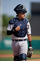 Detroit Tigers catcher Eduardo Valencia (60) during a Florida Instructional League intrasquad game on October 17, 2020 at Joker Marchant Stadium in Lakeland, Florida.  (Mike Janes/Four Seam Images)