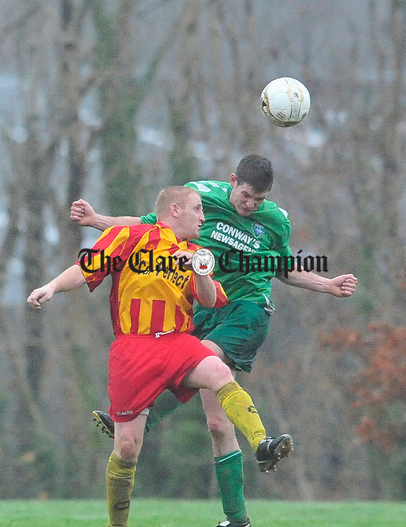 Avenue's clashes with Kevin Scales of Ennistymon. Photograph by Declan Monaghan