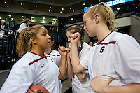 NORFOLK, VA--Senior Grace Mashore rallies freshman Taylor Greenfield before competition against Hampton University at the Ted Constant Convocation Center at Old Dominion University in Norfolk, VA in the first round of the 2012 NCAA Championships. The Cardinal advanced with a 73-51 win to play West Virginia on Monday, March 19.