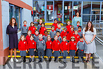 The junior infants in Holy Cross Mercy NS with Breda Flanagan and Marie Coleman and Denise Lucey SNA on their first day of school on Monday
