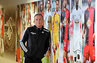 FAO: MICHAEL RYE, SPORTS PICTURE DESK<br /> Pictured: Manager Garry Monk.Thursday 14 August 2014<br /> Re: Swansea City FC press conference at the Liberty Stadium, south Wales, ahead of their first game of the Premier League season against Manchester United this coming Saturday.