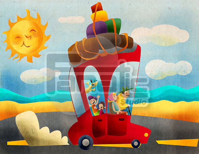 Family on vacations by a car