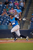 Tampa Tarpons Wilkerman Garcia (27) bats during a Florida State League game against the Jupiter Hammerheads on July 26, 2019 at George M. Steinbrenner Field in Tampa, Florida.  Tampa defeated Jupiter 4-3.  (Mike Janes/Four Seam Images)