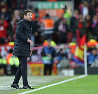 Atletico Madrid manager Diego Simeone looks on<br /> <br /> Photographer Rich Linley/CameraSport<br /> <br /> UEFA Champions League Round of 16 Second Leg - Liverpool v Atletico Madrid - Wednesday 11th March 2020 - Anfield - Liverpool<br />  <br /> World Copyright © 2020 CameraSport. All rights reserved. 43 Linden Ave. Countesthorpe. Leicester. England. LE8 5PG - Tel: +44 (0) 116 277 4147 - admin@camerasport.com - www.camerasport.com