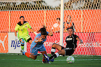Kendall Fletcher (4) of Sky Blue FC and Marta (10) of the Western New York Flash collide. The Western New York Flash defeated Sky Blue FC 4-1 during a Women's Professional Soccer (WPS) match at Yurcak Field in Piscataway, NJ, on July 30, 2011.