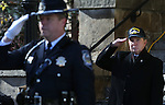 John Butler, with the Nevada State Capitol Police, and Carson City Mayor Bob Crowell salute the flag during the Pearl Harbor 75th Commemoration at the U.S.S. Nevada memorial at the Capitol in Carson City, Nev. on Wednesday, Dec. 7, 2016. <br />Photo by Cathleen Allison/Nevada Photo Source