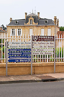 Road signs in front of chateau Nenin saying Pomerol, Ch Lafleur du Roy, Ch de Valois, Plince, Vieux Chateau Ferron and more  Pomerol  Bordeaux Gironde Aquitaine France