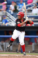 Batavia Muckdogs first baseman Carlos Duran (30) at  bat during a game against the Brooklyn Cyclones on August 11, 2014 at Dwyer Stadium in Batavia, New York.  Batavia defeated Brooklyn 4-3.  (Mike Janes/Four Seam Images)