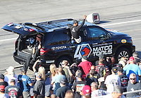 Nov 16, 2019; Pomona, CA, USA; NHRA top fuel driver Antron Brown during qualifying for the Auto Club Finals at Auto Club Raceway at Pomona. Mandatory Credit: Mark J. Rebilas-USA TODAY Sports