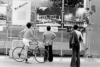 July 8, 1976 -  Montreal. Quebec , Canada  - CORRIDART an exhibit of 18 pieces of art installed for the olympics, <br /> on Sherbrooke street near Saint-Urbain, before beeing torned down on the night of July 13 to 14, 1976, on order from Montreal Mayor Jean Drapeau