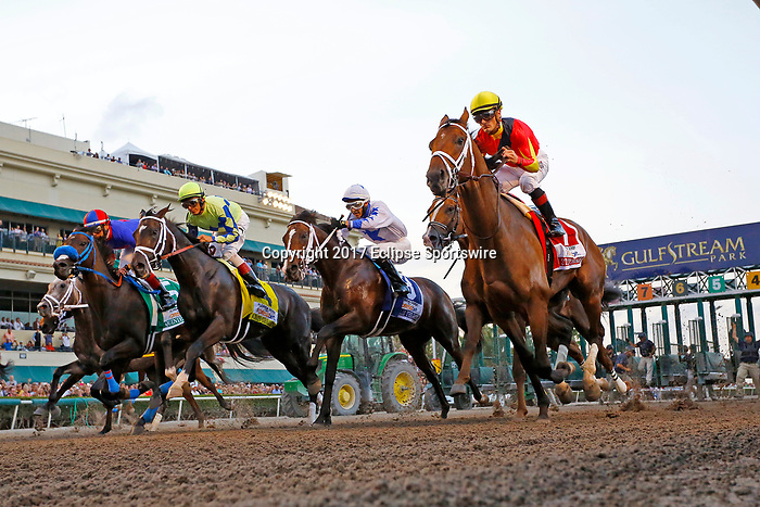 HALLANDALE BEACH, FL - APRIL 01:  #4 Always Dreaming (FL) wth jockey John Velazquez on board, breaks from the gate before winning the Xpressbet Florida Derby (Grade I) at Gulfstream Park on April 01, 2017 in Hallandale Beach, Florida. (Photo by Liz Lamont/Eclipse Sportswire/Getty Images)
