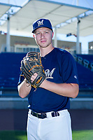 AZL Brewers Christian Taugner (47) poses for a photo before a game against the AZL Cubs on August 24, 2017 at Maryvale Baseball Park in Phoenix, Arizona. AZL Cubs defeated the AZL Brewers 9-1. (Zachary Lucy/Four Seam Images)