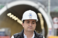 "LA LINEA - COLOMBIA, 29-08-2020: Juan Esteban Gil director del Invias durante visita al complejo de túneles. El túnel principal ""La Línea"" tiene una longitud de  8,65 km y hace parte de El Túnel de La Línea el proyecto de infraestructura vial más importante de Colombia que está es fase final de construcción conectará de manera eficiente los departamentos colombianos de Quindío y Tolima. El plan además consta de 24 puentes y 20 túneles de diferentes longitudes. / Juan Esteban Gil director of Invias during visit to the tunnel complex. The main tunnel ""La Línea"" has a length of 8.65 km and is part of El Túnel de La Línea, the most important road infrastructure project in Colombia, which is in the final phase of construction and will efficiently connect the Colombian departments of Quindío and Tolima. The plan also consists of 24 bridges and 20 tunnels of different lengths. Photo: VizzorImage / Gabriel Aponte / Staff"