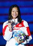 Aya Terakawa (JPN), <br /> JULY 30, 2013 - Swimming : Bronze medalist Aya Terakawa of Japan smiles with the medal after the women's 100m backstroke final at the 15th FINA Swimming World Championships at Palau Sant Jordi arena in Barcelona, Spain.<br /> (Photo by Daisuke Nakashima/AFLO)