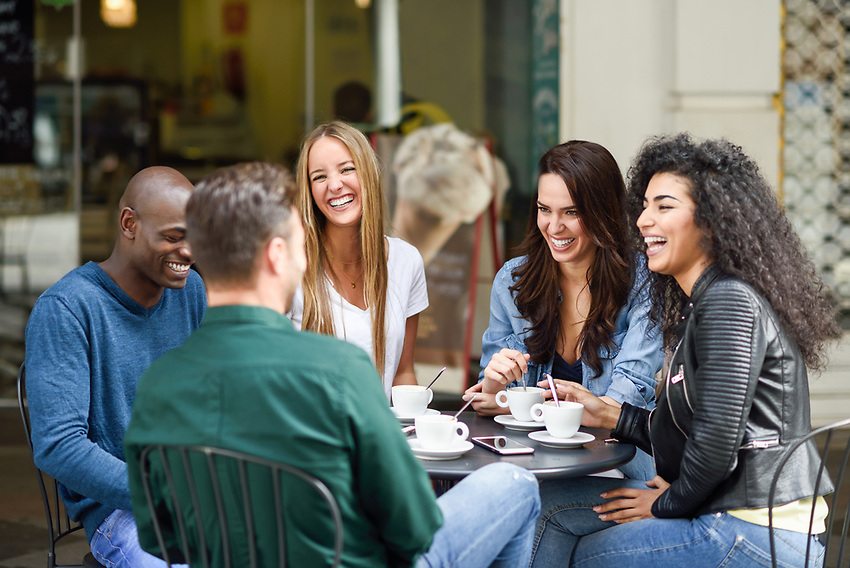Group of friends having coffee
