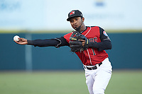 Hickory Crawdads second baseman Yonny Hernandez (1) makes a throw to first base against the Kannapolis Intimidators at L.P. Frans Stadium on July 20, 2018 in Hickory, North Carolina. The Crawdads defeated the Intimidators 4-1. (Brian Westerholt/Four Seam Images)