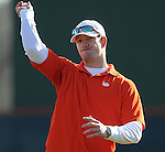 Former Clemson player Doug Hogan throws out a first pitch prior to a game between the Charlotte 49ers and Clemson Tigers Feb. 20, 2009, at Doug Kingsmore Stadium in Clemson, S.C. (Photo by: Tom Priddy/Four Seam Images)