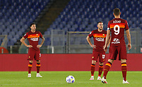 Roma s Edin Dzeko, right, and his teammates react after Benevento scored during the Serie A soccer match between Roma and Benevento at Rome's Olympic Stadium, October 18, 2020.<br /> UPDATE IMAGES PRESS/Riccardo De Luca