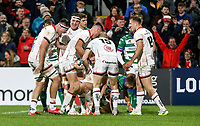 Friday 8th October 2021<br /> <br /> Nathan Doak is congratulated after he scored during the URC Round 3 clash between Ulster Rugby and Benetton Rugby at Kingspan Stadium, Ravenhill Park, Belfast, Northern Ireland. Photo by John Dickson/Dicksondigital