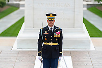 U.S. Army Col. James J. Tuite IV, regimental commander, 3d U.S. Infantry Regiment (The Old Guard) commands the troops to their posts as part of the National Memorial Day Observance at Arlington National Cemetery, Arlington, Virginia, May 25, 2020. This was the 152nd Memorial Day wreath-laying and observance ceremony at Arlington National Cemetery. (U.S. Army photo by Elizabeth Fraser / Arlington National Cemetery / released)