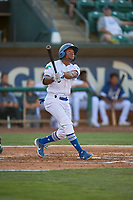 Aldrich De Jongh (5) of the Ogden Raptors at bat against the Missoula Osprey at Lindquist Field on August 12, 2019 in Ogden, Utah. The Raptors defeated the Osprey 4-3. (Stephen Smith/Four Seam Images)