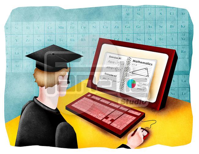 Man giving online exam