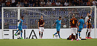 Calcio, Champions League, Gruppo E: Roma vs Barcellona. Roma, stadio Olimpico, 16 settembre 2015.<br /> FC Barcelona's Luis Suarez, third from left, celebrates after scoring during a Champions League, Group E football match between Roma and FC Barcelona, at Rome's Olympic stadium, 16 September 2015.<br /> UPDATE IMAGES PRESS/Isabella Bonotto